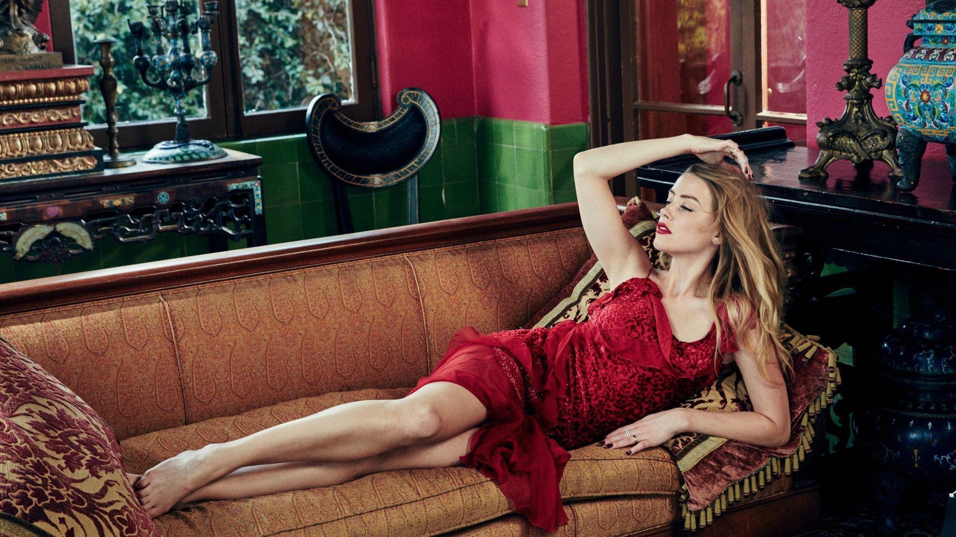 Desktop Wallpaper Amber Heard In Red Dress Sofa Hd Image