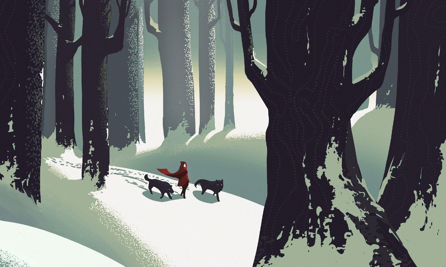 Astronaut Girl Wallpaper Iphone Desktop Wallpaper Little Red Riding Hood Walk Wolf