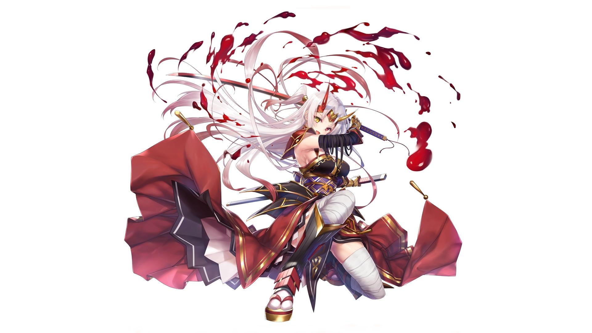 Anime Girl Wallpaper White Haired Wolf Girl Desktop Wallpaper White Hair Anime Girl Sword Warrior