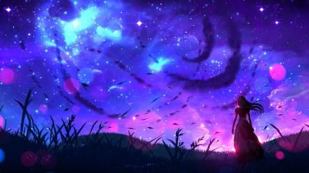 Desktop Wallpaper Art Landscape Night Anime Girl Original Hd Image Picture Background Af80c1