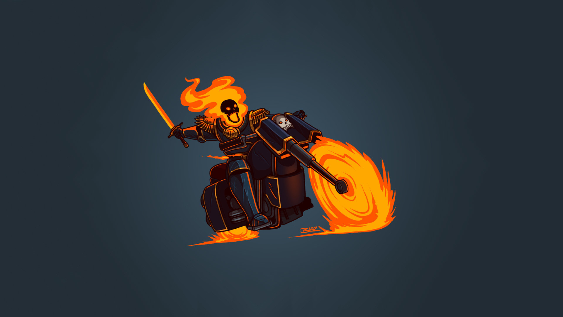 Top 10 Wallpapers Hd 1080p Desktop Wallpaper Ghost Rider Marvel Comics Minimalism