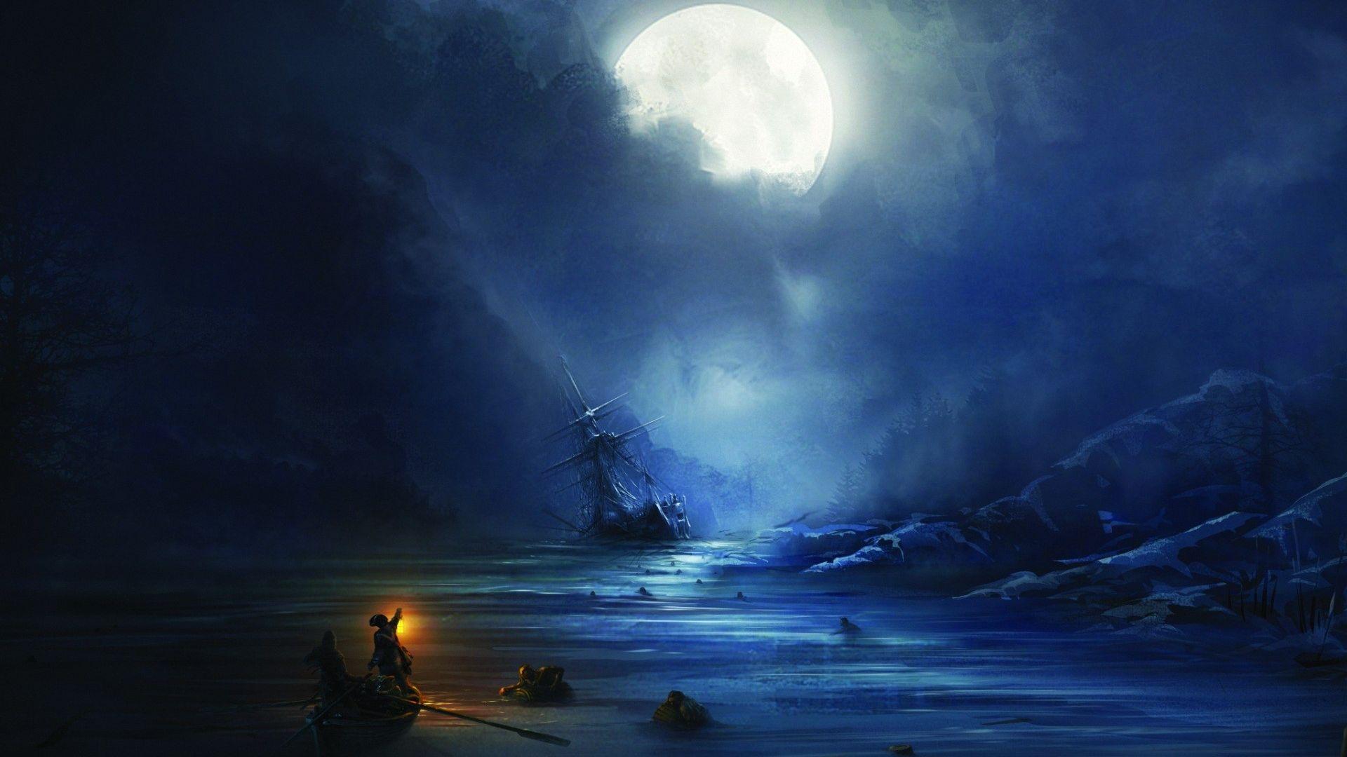 desktop wallpaper boat night