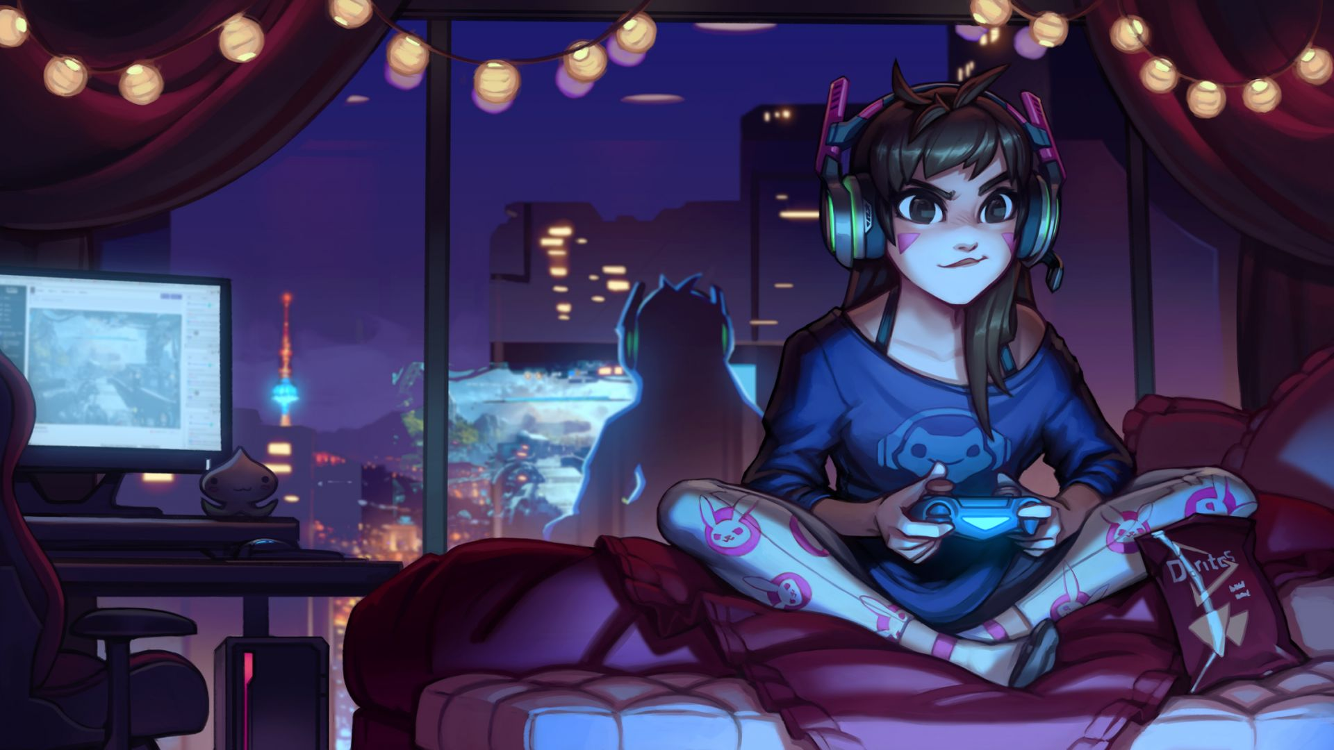Cute Wallpapers Youtubers Use For Their Computer Desktop Wallpaper Little D Va Overwatch Video Game Hd