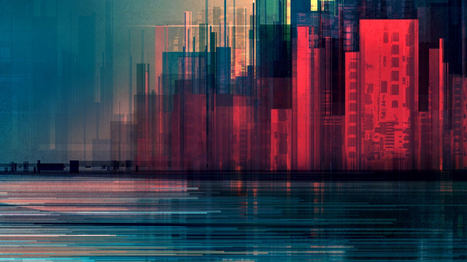 Hd Superhero Wallpapers For Pc Desktop Wallpaper Glitch Art City Abstract Hd Image