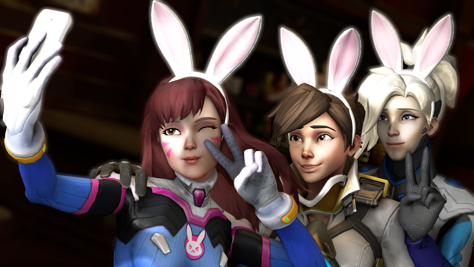 Overwatch Girls Wallpaper 1920x1080 Desktop Wallpaper Mercy D Va Tracer Selfie Overwatch