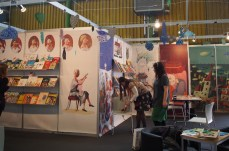 Illustrators' club members getting ready the Romanian stand