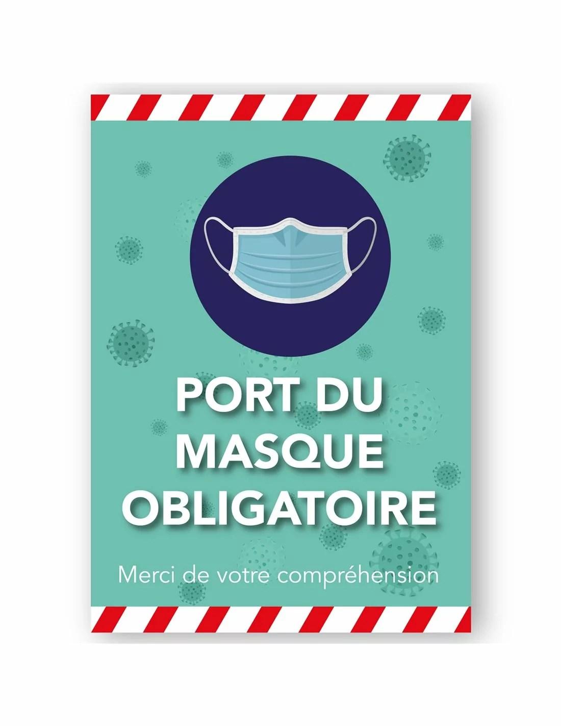 Panneau Port Du Masque Obligatoire : panneau, masque, obligatoire, Adhésif, Panneau, Masque, Obligatoire