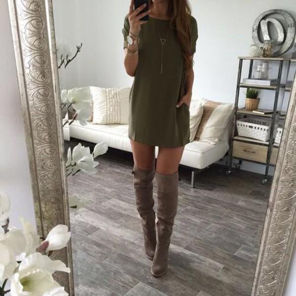 Cute Earphones Wallpaper Dress T Shirt Dress Shoes Boots Gray Boots Knee High