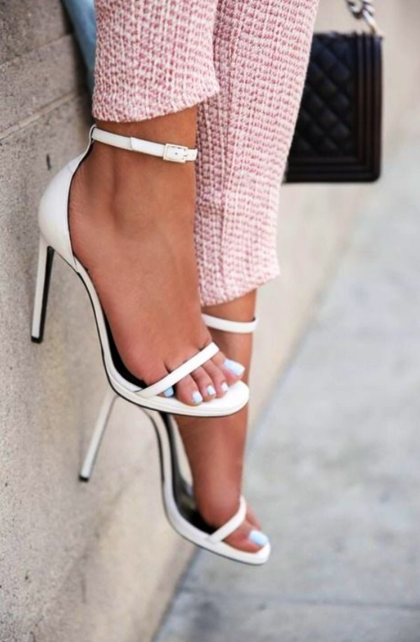 White Snakeskin Effect Strappy High Heel Sandals