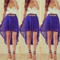 Blouse white crop tops and blue skirt blue high low sheer skirt belt