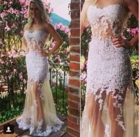 Dress: white, lace dress, 2015 prom dress, long prom dress ...
