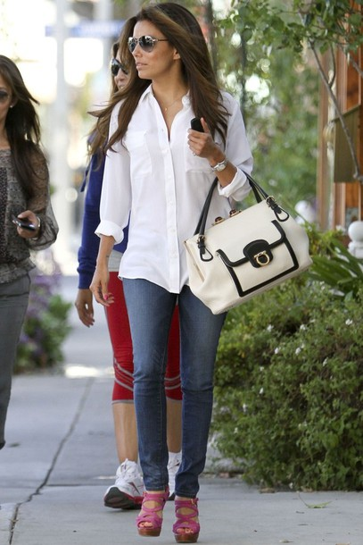eva longoria,white bag,black bag,bag