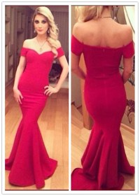 Red Long Off Shoulder Bodycon Mermaid Evening Dress, Red ...