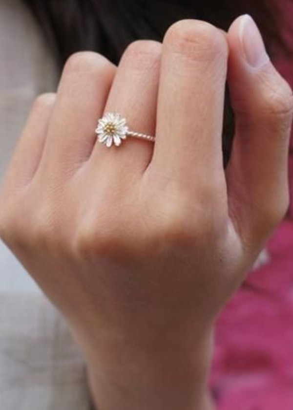 Fashion Newlovely Small Daisy Flower Silvery Alloy Rings