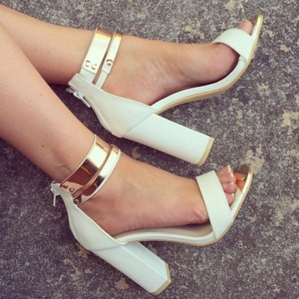 Shoes White Gold Heels Ankle Strap Block Heels