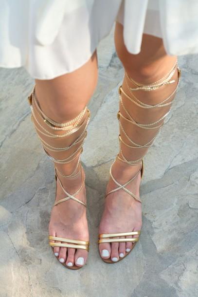 Shoes Sandals Flat Sandals Gladiators Knee High
