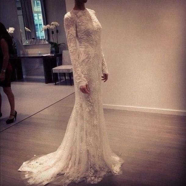 dress white lace wedding dress long sleeve dress gorgeous maxi dress modest dress beaded