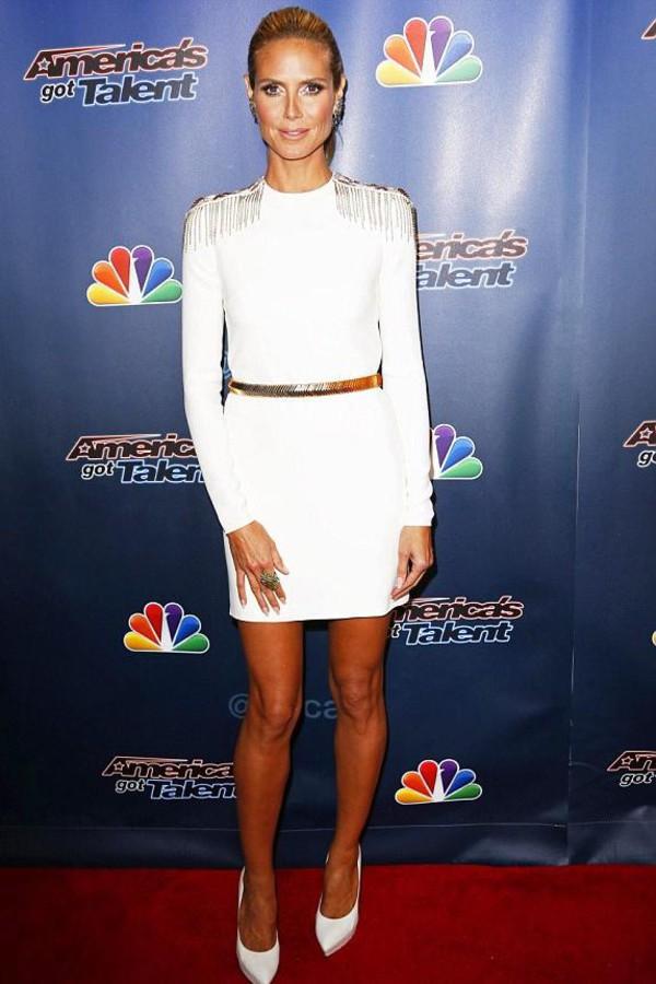 Shoes Dress White Dress Heidi Klum High Heels Wheretoget