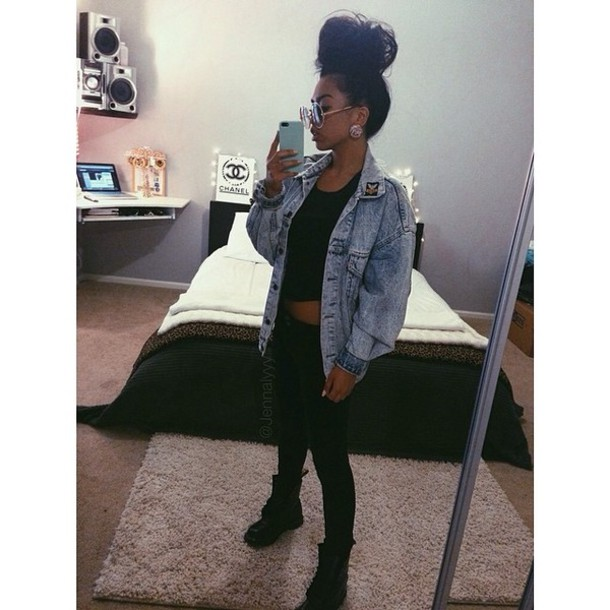 All Black Outfit With Jean Jacket