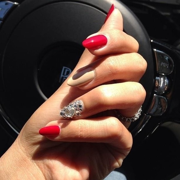 Nail Polish Sparkle Jewels Acrylic Red Nails Wheretoget
