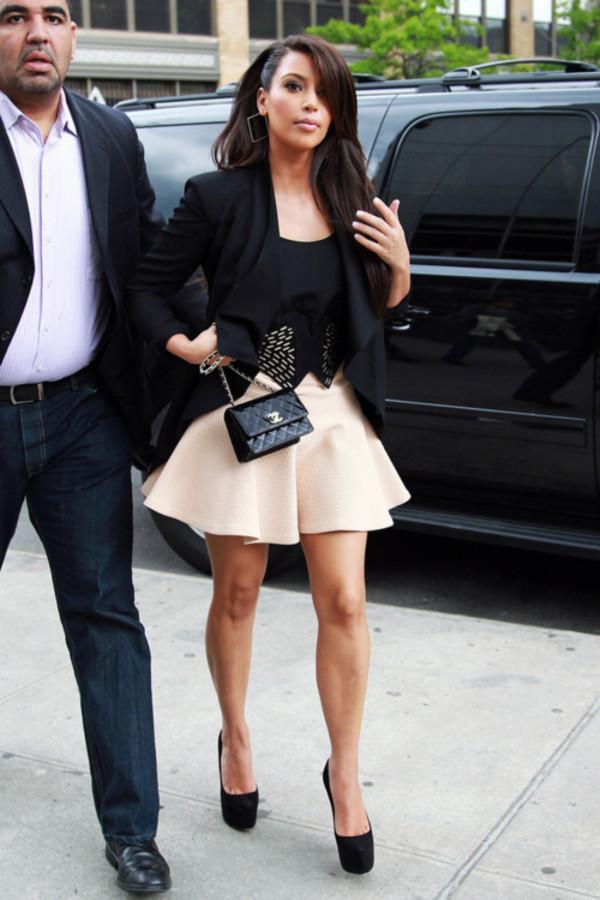 jacket designer heels full skirt top tuxedo blazer chanel purse chanel kim kardashian