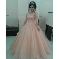 Dress: blush pink prom dresses, long sleeve prom dress ...