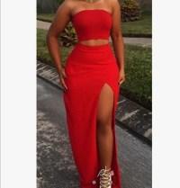dress, red two piece formal dress, two piece dress set ...
