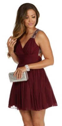 Dress: burgundy, short, cute, style, maroon prom dress