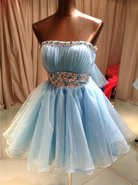 Dress sky blue dresses short dress bridesmaid prom