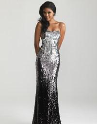 Silver & Black Ombre Sequin Strapless Prom Dress - Unique ...