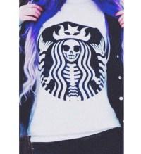 Shirt: starbucks coffee, black, purple, skull, grunge