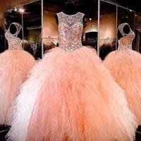 Dress: blush peach quinceanera dresses, quinceanera dress ...