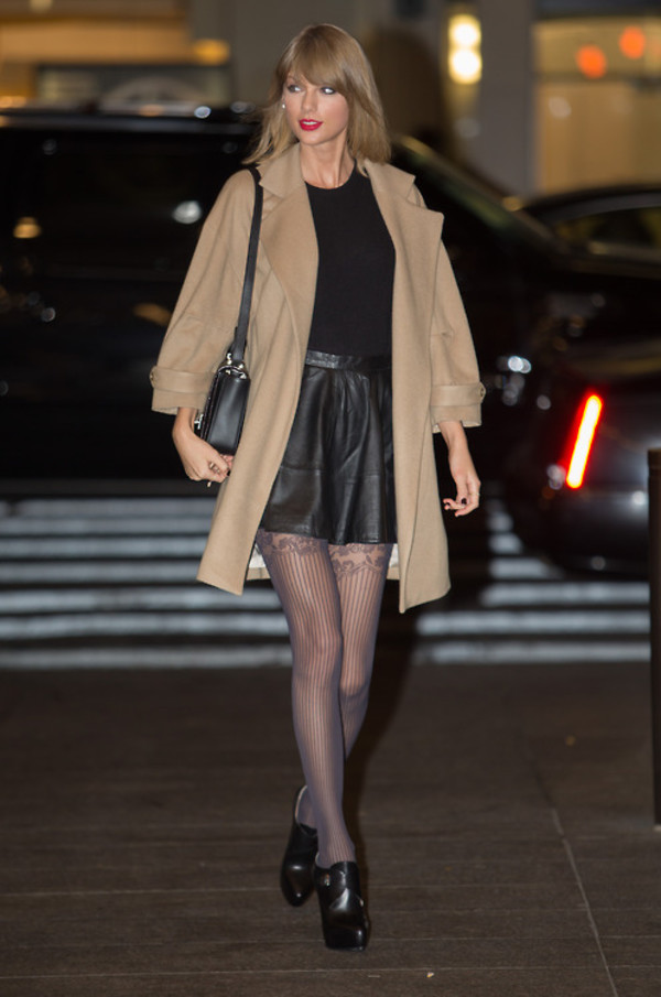 Fall Outfits Taylor Swift Skirt Coat Wheretoget