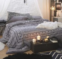 Home accessory: black, white, bedding, double duvet