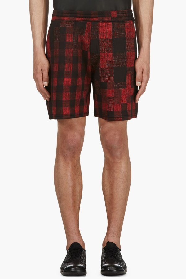 Red and Black Plaid Shorts Men