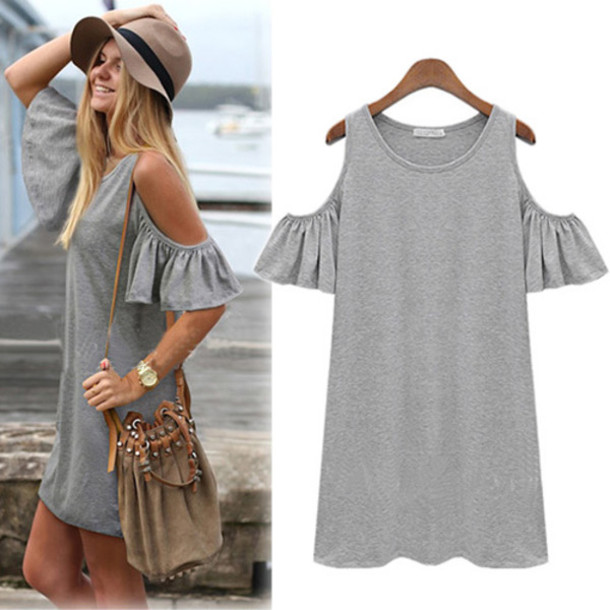 Jumpsuit clothes fashion sexy grey black top dress