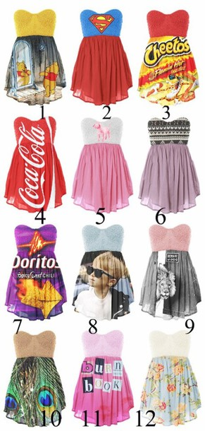 coca cola chairs and tables in spanish language dress: short dress, cola, superman, disney, cheetos, winnie the pooh, bag - wheretoget