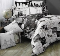 Dress: black, white, bedding, newspaper, bedding, home