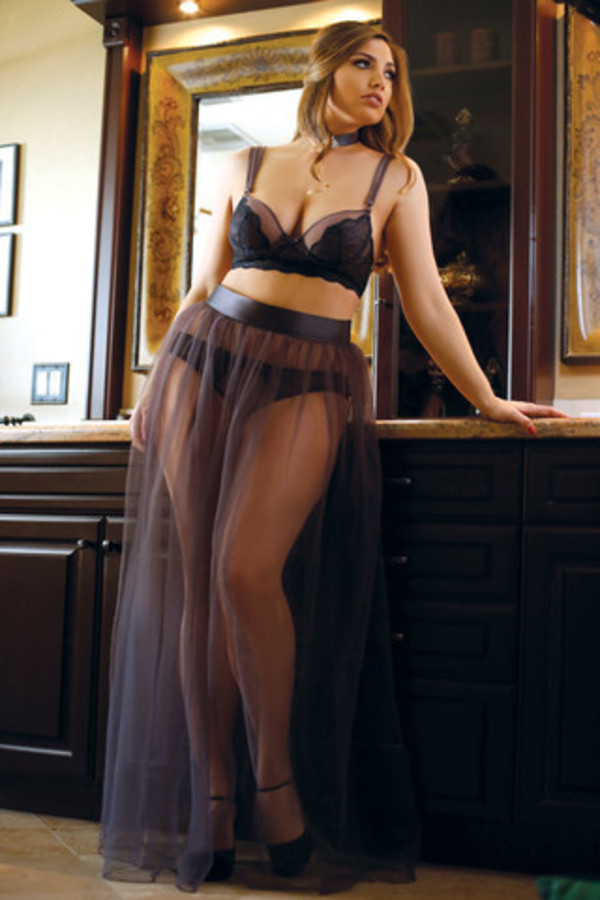 Skirt fantasy lingerie curve plus size maxi skirt
