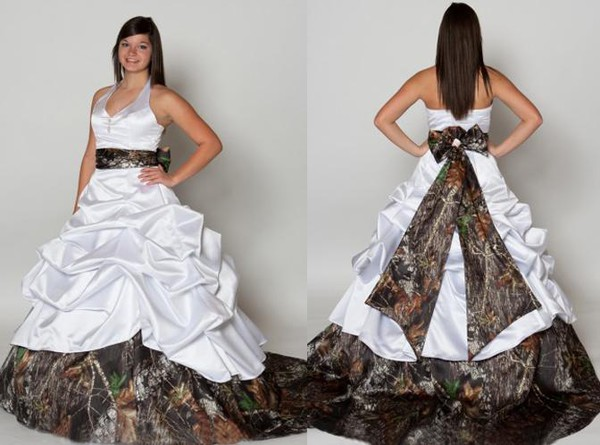 Strapless Ball Gown Wedding Dress Plus Size Camouflage