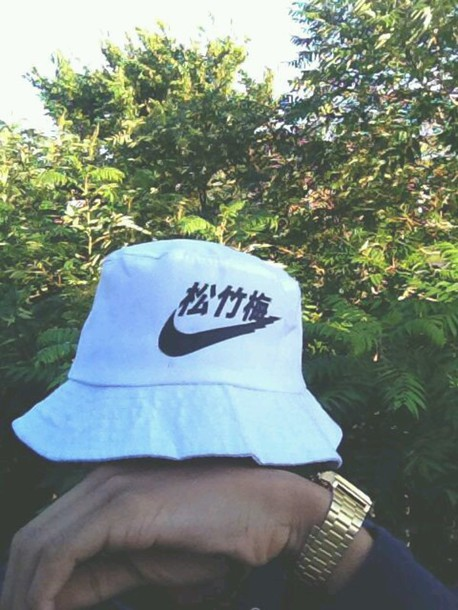Hat white bucket hat nike hat just do it just do it