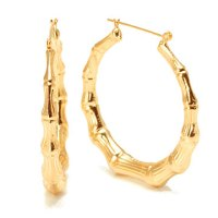 Yellow Gold Styled Plain Bamboo Hoop Earrings ...