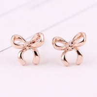 Sweet Chic Lovely Rose Gold Crown Bow Crystal Earrings