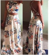 Dress: floral maxi dress, floral, tropical, two piece ...