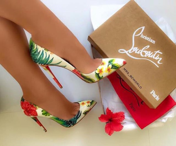 Shoes pumps floral louboutin high heels pointed toe