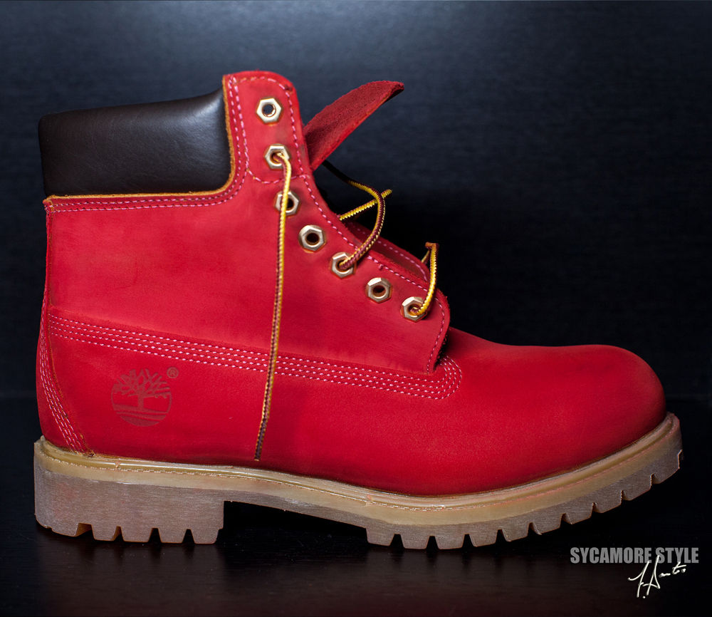 Custom Dyed Sycamore Style Suicide Riz Red Timberland