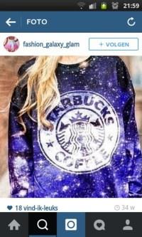 Sweater: starbucks coffee, galaxy print, blue and white