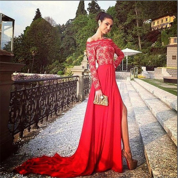 dress, slit, red prom dress, boat sleeve, prom gown, prom