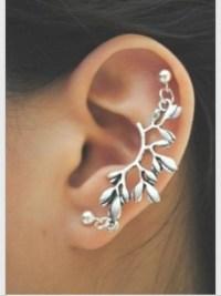 jewels, silver, stud, earrings, branch, piercing, helix ...