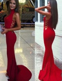dress, red, red dress, halter top, prom, prom dress, long ...